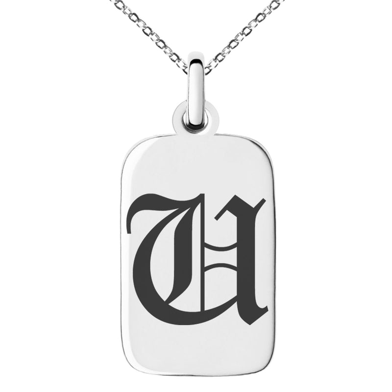 Stainless Steel Letter U Initial Old English Monogram Engraved Small Rectangle Dog Tag Charm Pendant Necklace