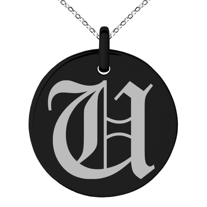 Stainless Steel Letter U Initial Old English Monogram Engraved Small Medallion Circle Charm Pendant Necklace