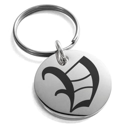Stainless Steel Letter V Initial Old English Monogram Engraved Small Medallion Circle Charm Keychain Keyring - Tioneer