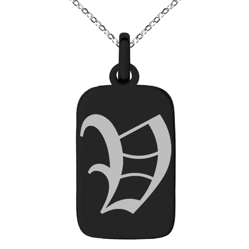 Stainless Steel Letter V Initial Old English Monogram Engraved Small Rectangle Dog Tag Charm Pendant Necklace