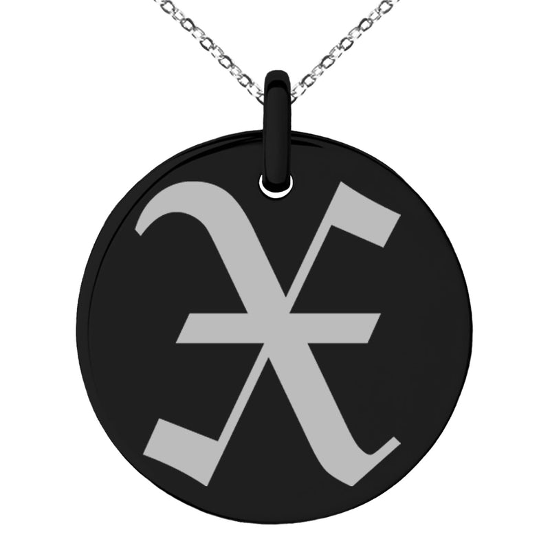 Stainless Steel Letter X Initial Old English Monogram Engraved Small Medallion Circle Charm Pendant Necklace