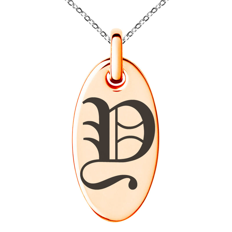 Stainless Steel Letter Y Initial Old English Monogram Engraved Small Oval Charm Pendant Necklace - Tioneer