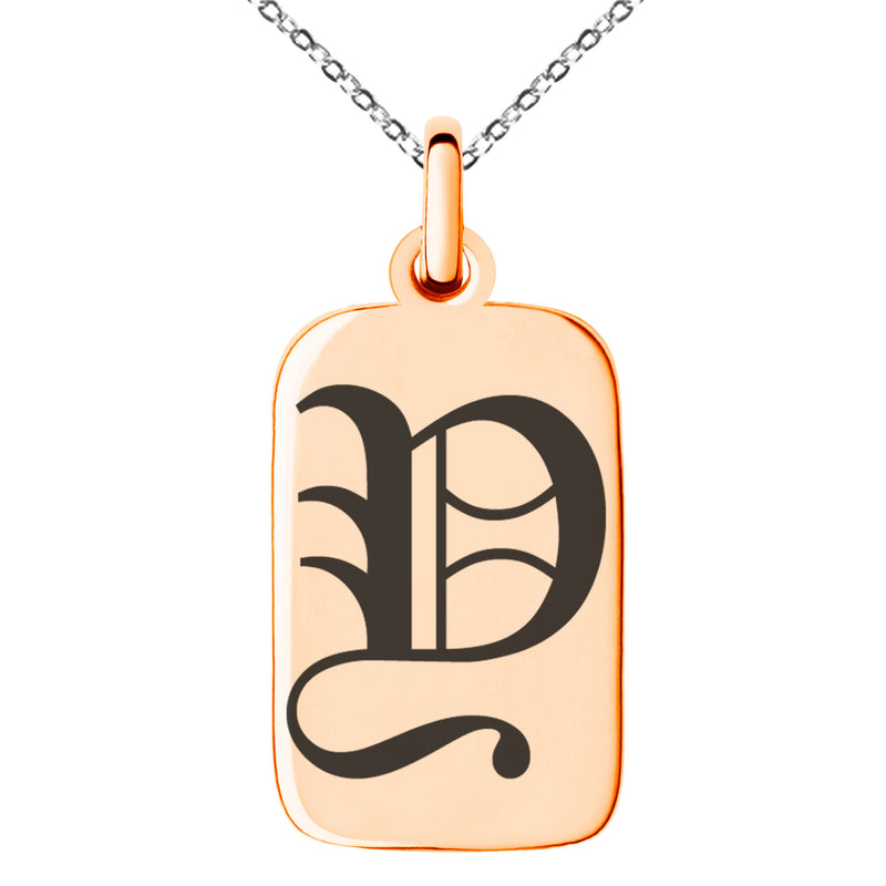 Stainless Steel Letter Y Initial Old English Monogram Engraved Small Rectangle Dog Tag Charm Pendant Necklace - Tioneer