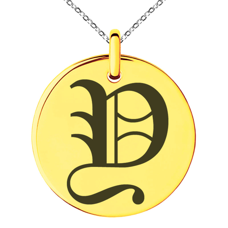 Stainless Steel Letter Y Initial Old English Monogram Engraved Small Medallion Circle Charm Pendant Necklace - Tioneer