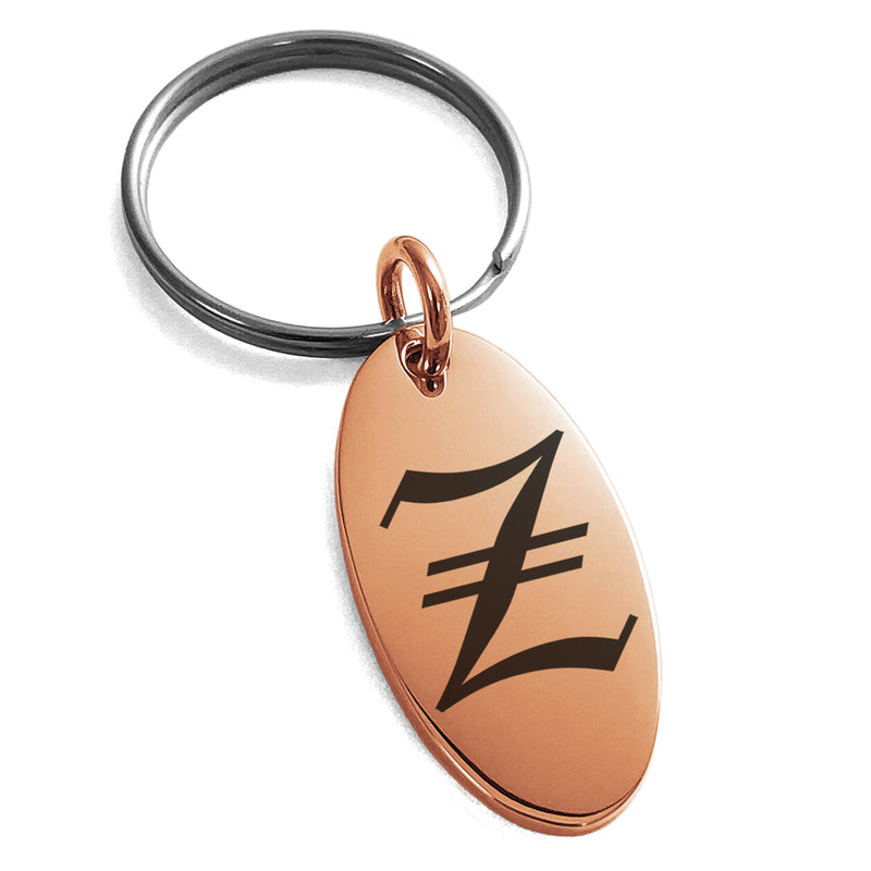Stainless Steel Letter Z Initial Old English Monogram Engraved Small Oval Charm Keychain Keyring - Tioneer