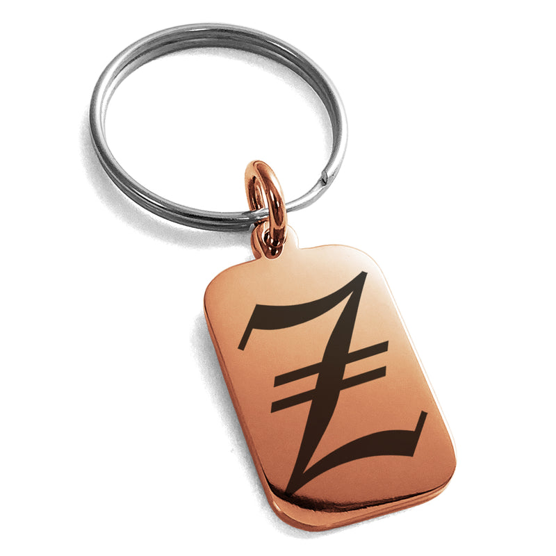 Stainless Steel Letter Z Initial Old English Monogram Engraved Small Rectangle Dog Tag Charm Keychain Keyring - Tioneer
