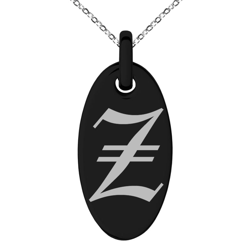 Stainless Steel Letter Z Initial Old English Monogram Engraved Small Oval Charm Pendant Necklace - Tioneer
