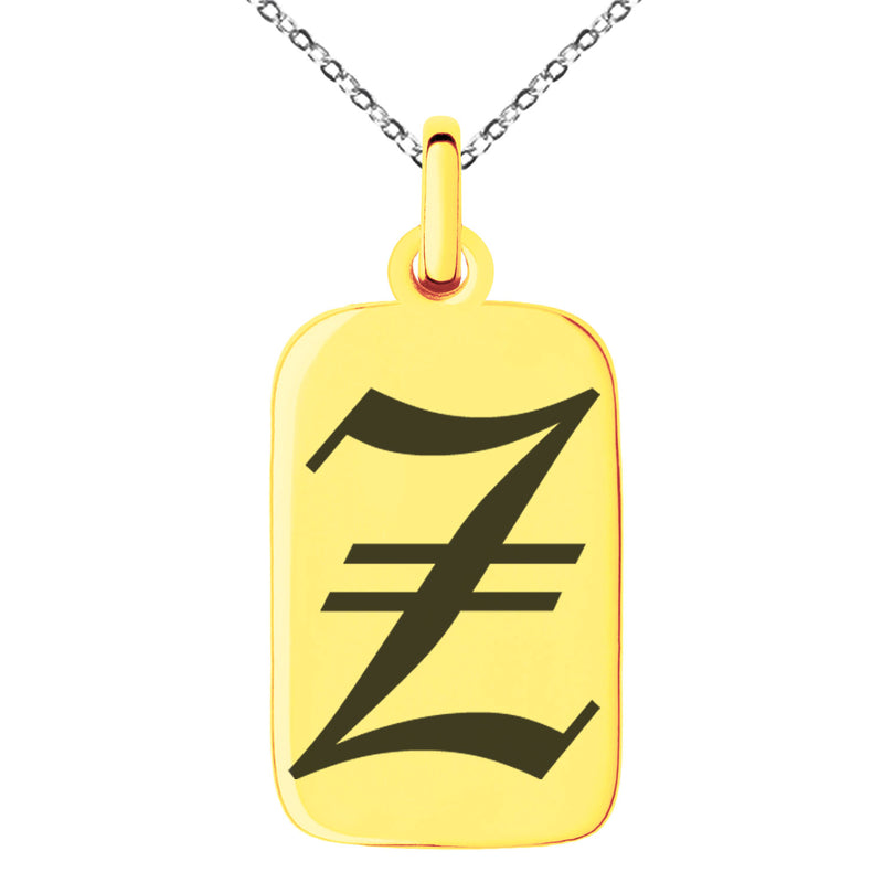 Stainless Steel Letter Z Initial Old English Monogram Engraved Small Rectangle Dog Tag Charm Pendant Necklace - Tioneer