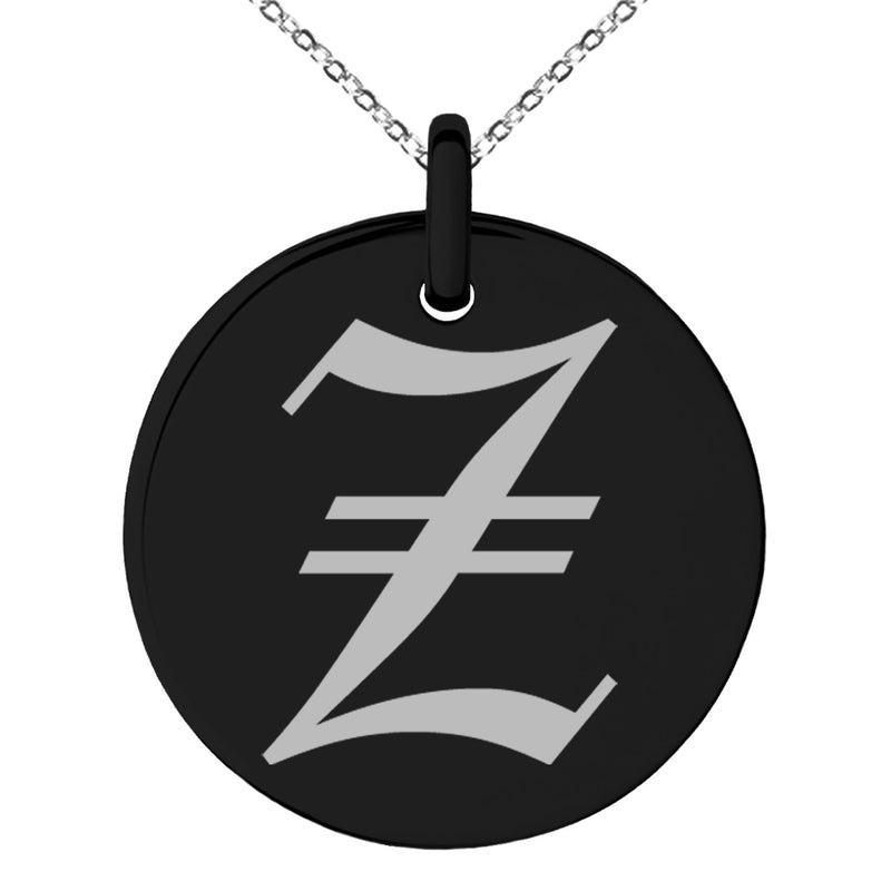 Stainless Steel Letter Z Initial Old English Monogram Engraved Small Medallion Circle Charm Pendant Necklace - Tioneer
