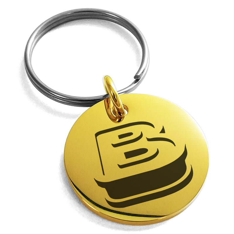 Stainless Steel Letter B Initial 3D Monogram Engraved Small Medallion Circle Charm Keychain Keyring - Tioneer