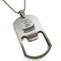 Stainless Steel Letter B Alphabet Initial 3D Monogram Engraved Bottle Opener Dog Tag Pendant Necklace - Tioneer