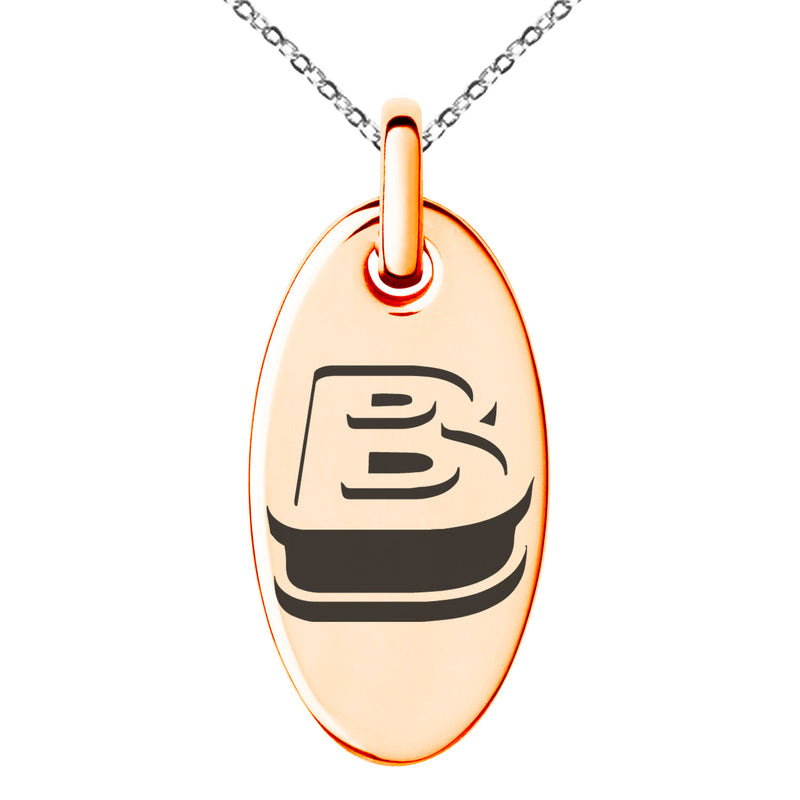 Stainless Steel Letter B Initial 3D Monogram Engraved Small Oval Charm Pendant Necklace