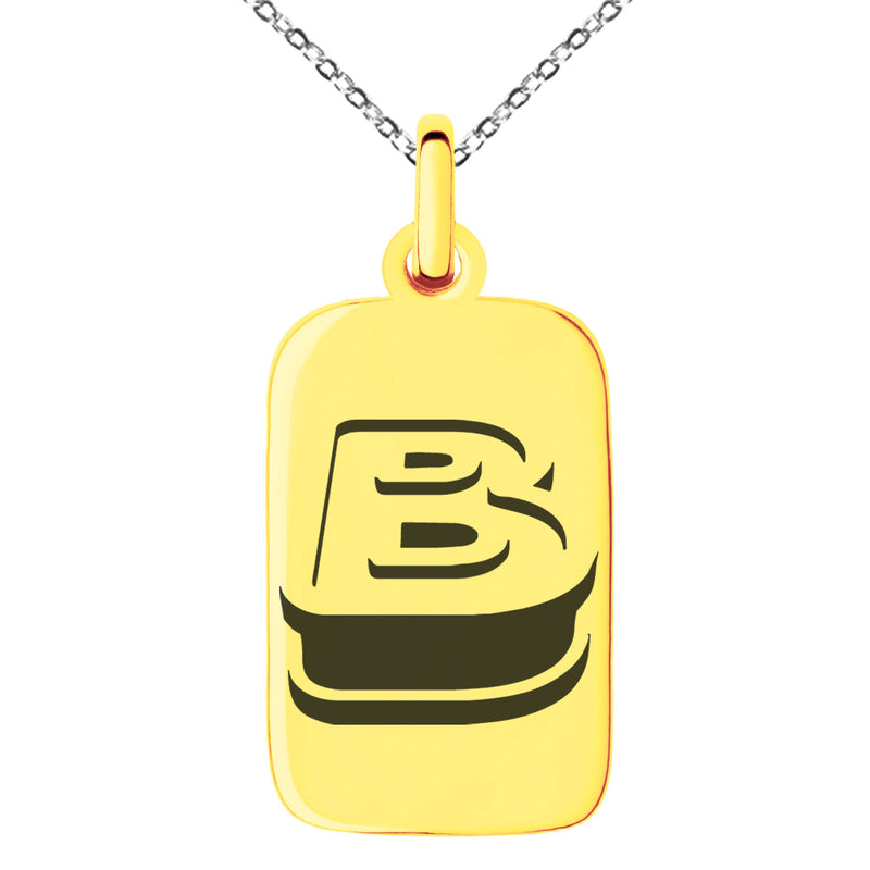 Stainless Steel Letter B Initial 3D Monogram Engraved Small Rectangle Dog Tag Charm Pendant Necklace