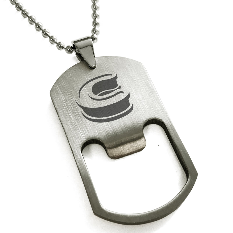 Stainless Steel Letter C Alphabet Initial 3D Monogram Engraved Bottle Opener Dog Tag Pendant Necklace - Tioneer