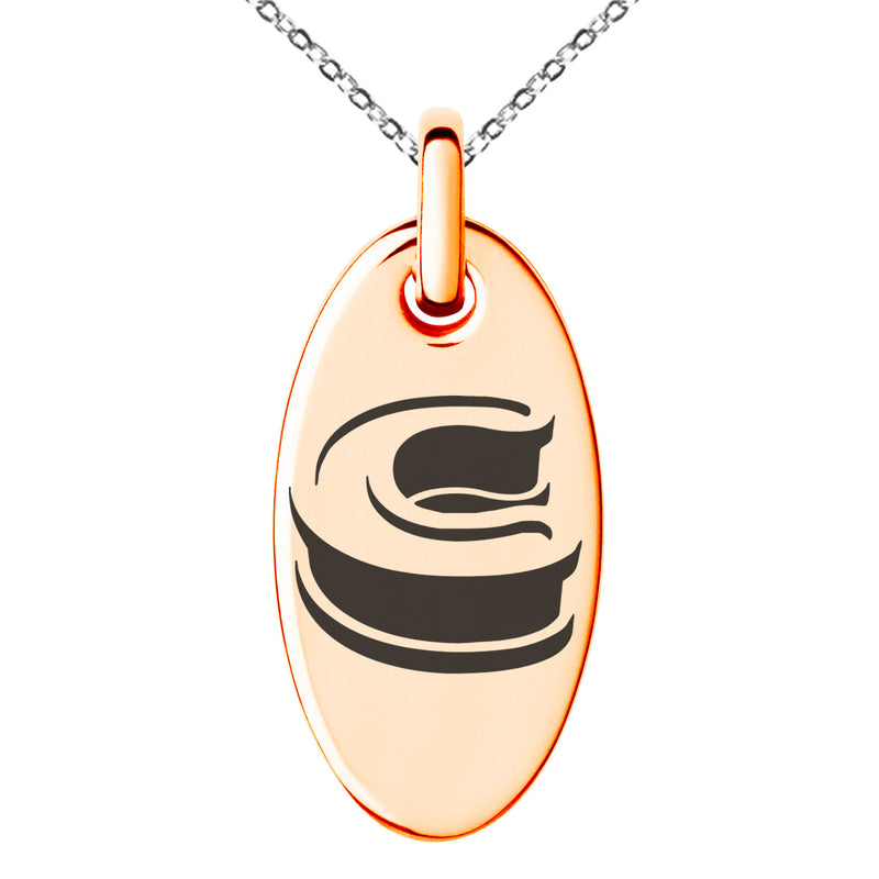 Stainless Steel Letter C Initial 3D Monogram Engraved Small Oval Charm Pendant Necklace