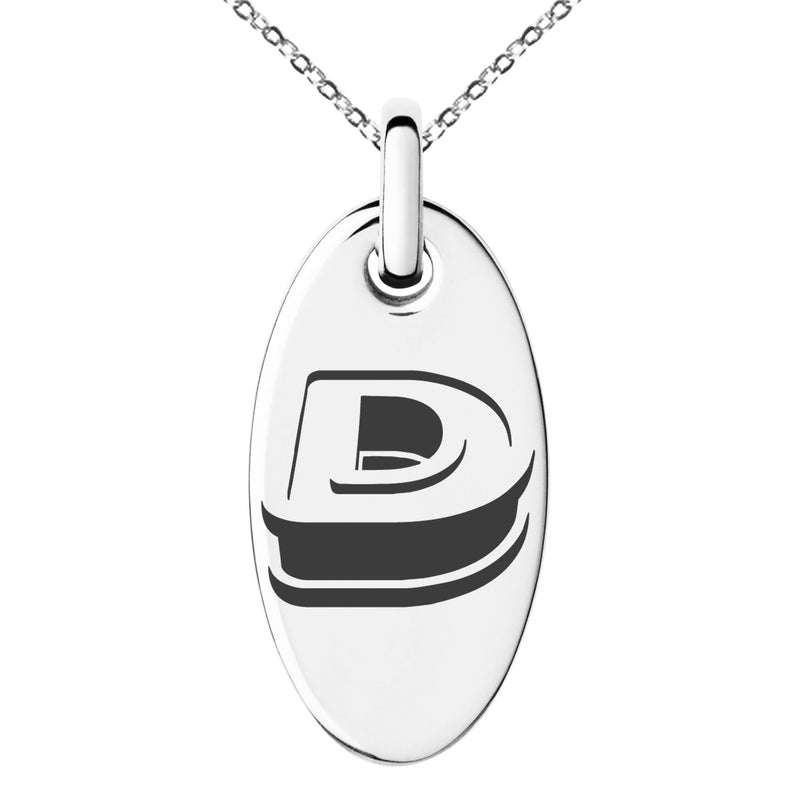 Stainless Steel Letter D Initial 3D Monogram Engraved Small Oval Charm Pendant Necklace