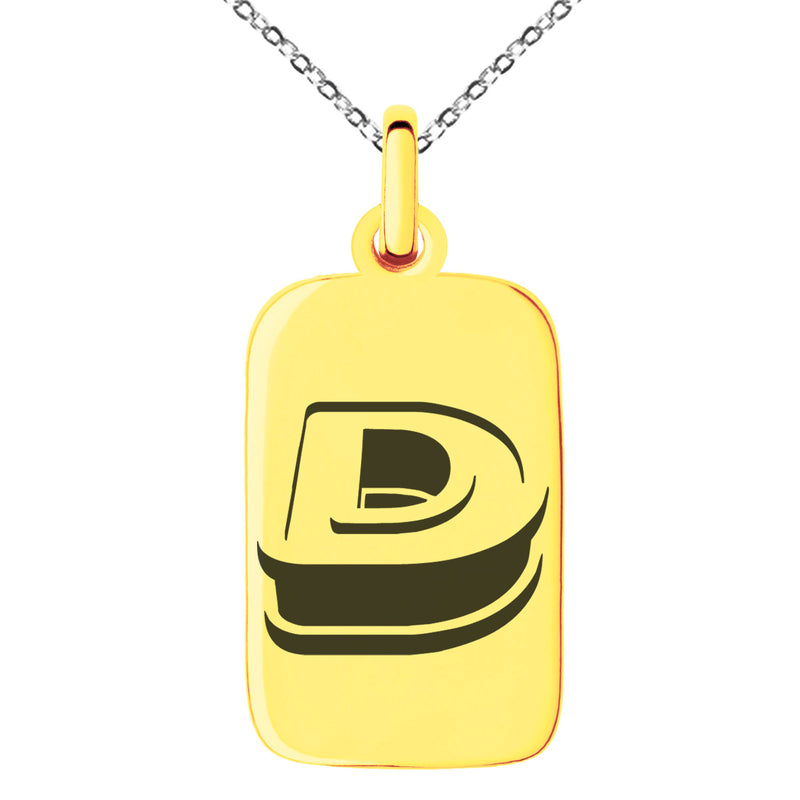 Stainless Steel Letter D Initial 3D Monogram Engraved Small Rectangle Dog Tag Charm Pendant Necklace