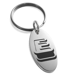 Stainless Steel Letter E Initial 3D Monogram Engraved Small Oval Charm Keychain Keyring - Tioneer