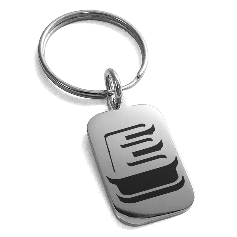 Stainless Steel Letter E Initial 3D Monogram Engraved Small Rectangle Dog Tag Charm Keychain Keyring - Tioneer