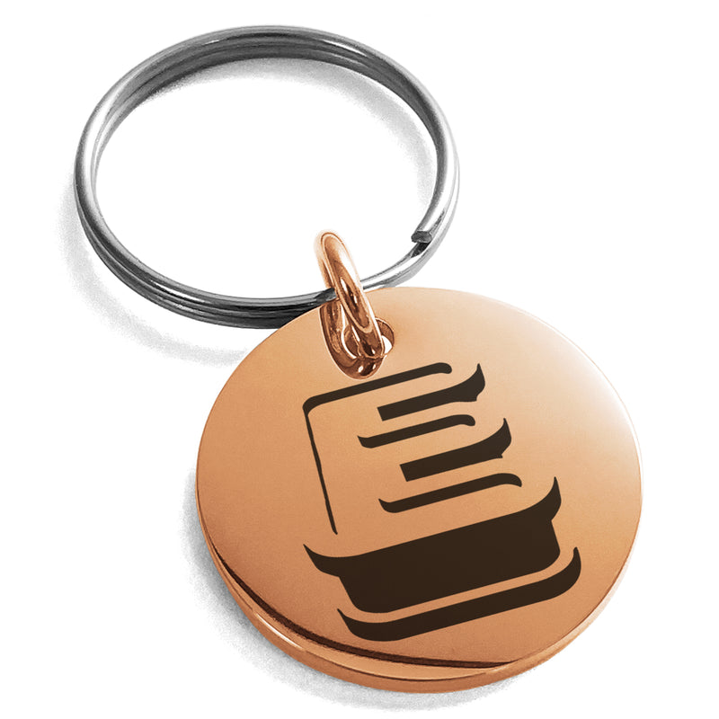 Stainless Steel Letter E Initial 3D Monogram Engraved Small Medallion Circle Charm Keychain Keyring - Tioneer