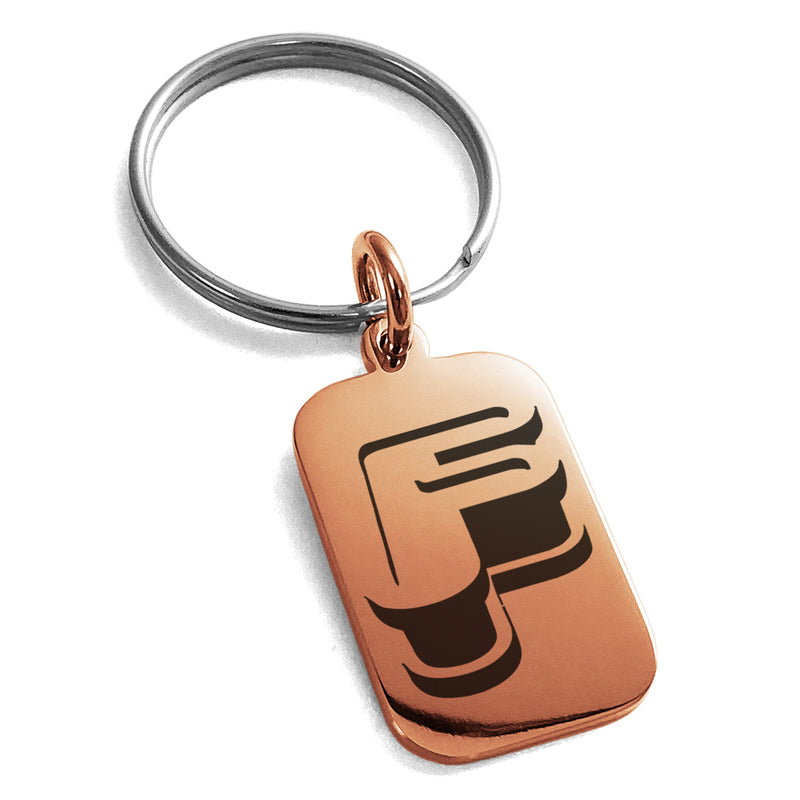 Stainless Steel Letter F Initial 3D Monogram Engraved Small Rectangle Dog Tag Charm Keychain Keyring - Tioneer