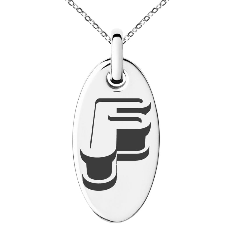 Stainless Steel Letter F Initial 3D Monogram Engraved Small Oval Charm Pendant Necklace