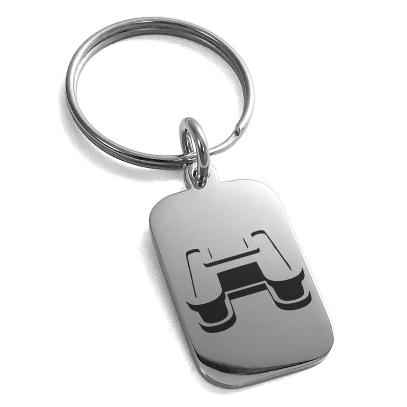 Stainless Steel Letter H Initial 3D Monogram Engraved Small Rectangle Dog Tag Charm Keychain Keyring - Tioneer