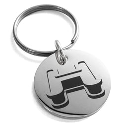 Stainless Steel Letter H Initial 3D Monogram Engraved Small Medallion Circle Charm Keychain Keyring - Tioneer