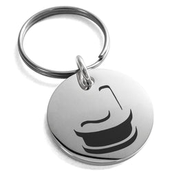 Stainless Steel Letter J Initial 3D Monogram Engraved Small Medallion Circle Charm Keychain Keyring - Tioneer