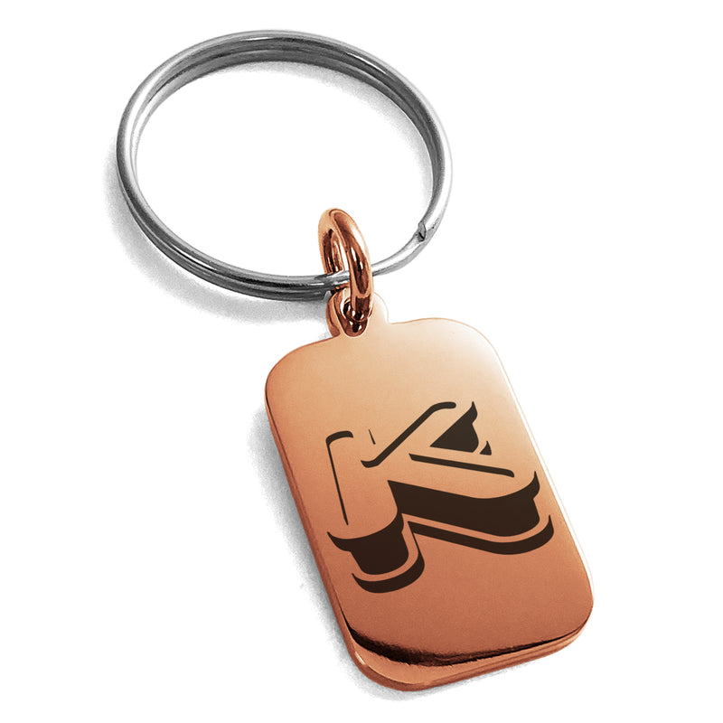 Stainless Steel Letter K Initial 3D Monogram Engraved Small Rectangle Dog Tag Charm Keychain Keyring - Tioneer