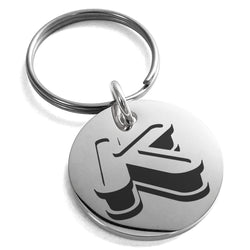 Stainless Steel Letter K Initial 3D Monogram Engraved Small Medallion Circle Charm Keychain Keyring - Tioneer