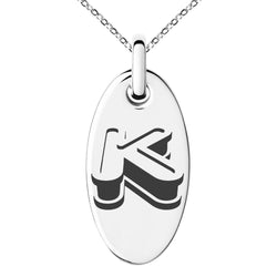 Stainless Steel Letter K Initial 3D Monogram Engraved Small Oval Charm Pendant Necklace