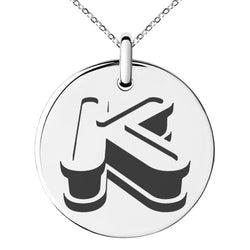 Stainless Steel Letter K Initial 3D Monogram Engraved Small Medallion Circle Charm Pendant Necklace