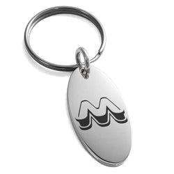 Stainless Steel Letter M Initial 3D Monogram Engraved Small Oval Charm Keychain Keyring - Tioneer