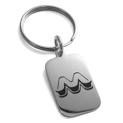 Stainless Steel Letter M Initial 3D Monogram Engraved Small Rectangle Dog Tag Charm Keychain Keyring - Tioneer