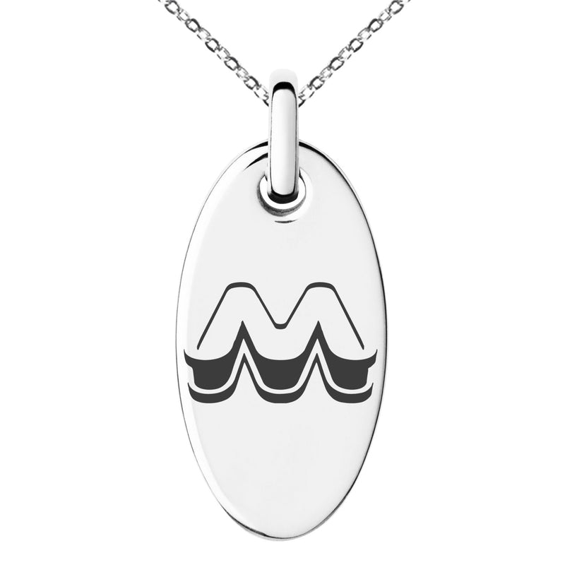 Stainless Steel Letter M Initial 3D Monogram Engraved Small Oval Charm Pendant Necklace