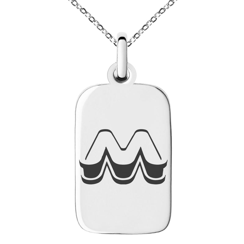 Stainless Steel Letter M Initial 3D Monogram Engraved Small Rectangle Dog Tag Charm Pendant Necklace