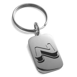 Stainless Steel Letter N Initial 3D Monogram Engraved Small Rectangle Dog Tag Charm Keychain Keyring - Tioneer