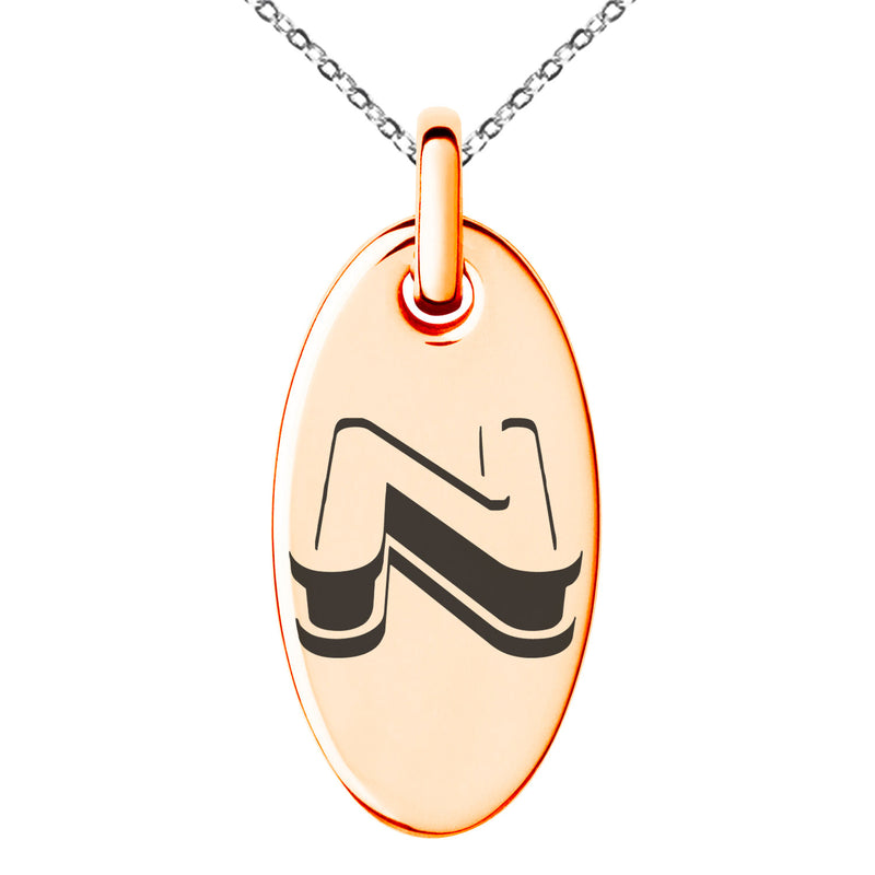 Stainless Steel Letter N Initial 3D Monogram Engraved Small Oval Charm Pendant Necklace