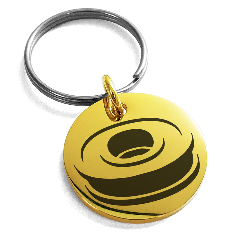 Stainless Steel Letter O Initial 3D Monogram Engraved Small Medallion Circle Charm Keychain Keyring - Tioneer