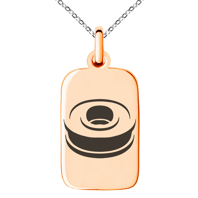 Stainless Steel Letter O Initial 3D Monogram Engraved Small Rectangle Dog Tag Charm Pendant Necklace