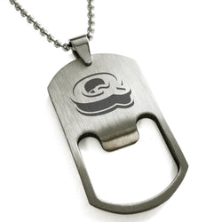 Stainless Steel Letter Q Alphabet Initial 3D Monogram Engraved Bottle Opener Dog Tag Pendant Necklace - Tioneer