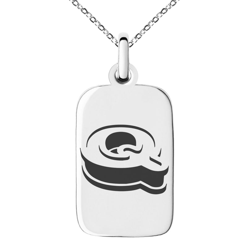 Stainless Steel Letter Q Initial 3D Monogram Engraved Small Rectangle Dog Tag Charm Pendant Necklace
