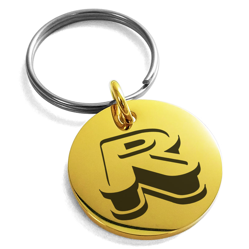 Stainless Steel Letter R Initial 3D Monogram Engraved Small Medallion Circle Charm Keychain Keyring - Tioneer