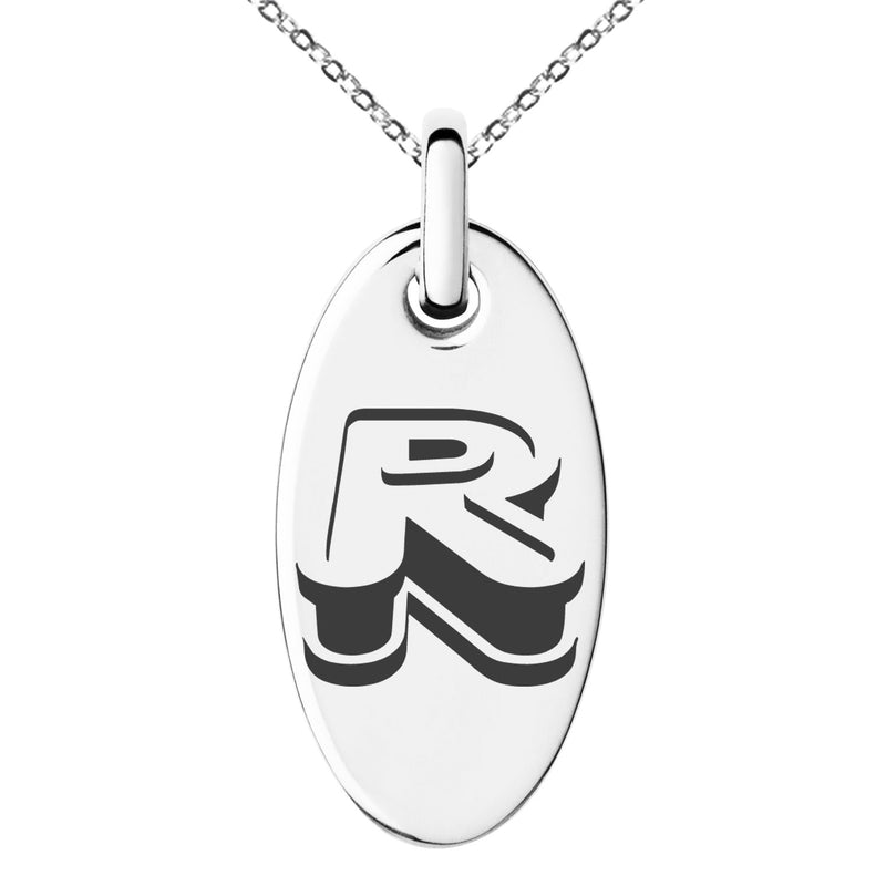 Stainless Steel Letter R Initial 3D Monogram Engraved Small Oval Charm Pendant Necklace