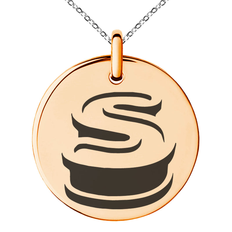 Stainless Steel Letter S Initial 3D Monogram Engraved Small Medallion Circle Charm Pendant Necklace