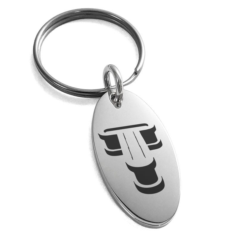 Stainless Steel Letter T Initial 3D Monogram Engraved Small Oval Charm Keychain Keyring - Tioneer