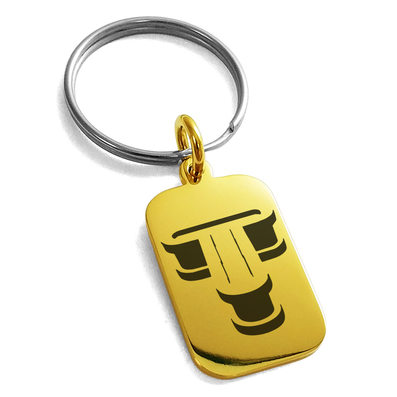 Stainless Steel Letter T Initial 3D Monogram Engraved Small Rectangle Dog Tag Charm Keychain Keyring - Tioneer