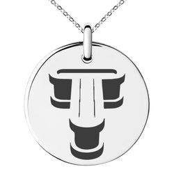 Stainless Steel Letter T Initial 3D Monogram Engraved Small Medallion Circle Charm Pendant Necklace