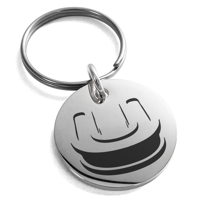 Stainless Steel Letter U Initial 3D Monogram Engraved Small Medallion Circle Charm Keychain Keyring - Tioneer